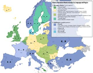 Quotation Marks Map of Europe